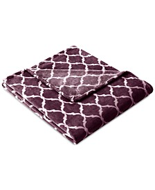 "Madison Park Oversized 60"" x 70"" Ogee-Print MicroLight Plush Throw"