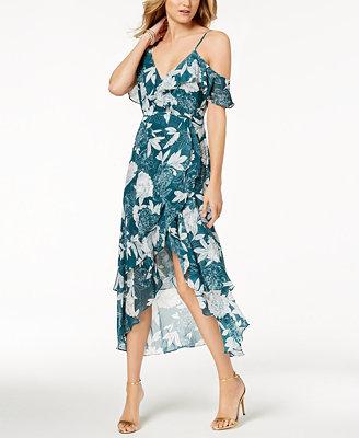 Floral Print Ruffled Midi Dress by Bardot