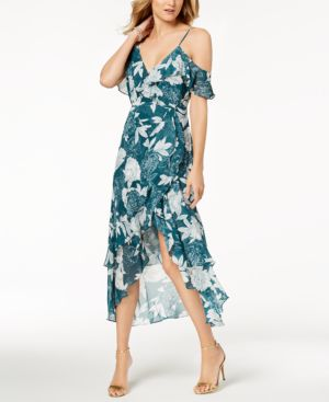 V-Neck Sleeveless Floral-Print Garden-Party Dress W/ High-Low Hem, Green