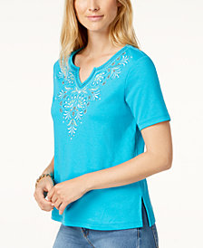 Alfred Dunner Scottsdale Embroidered Split-Neck Top