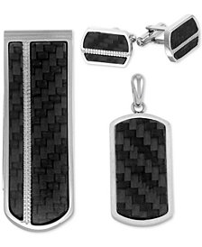 Men's 3-Pc. Set Carbon Fiber Dog Tag Pendant Necklace, Cuff Links & Money Clip in Stainless Steel