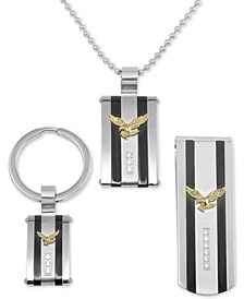 Men's 3-Pc. Set Cubic Zirconia Striped Eagle Dog Tag Pendant Necklace, Key Chain & Money Clip in Stainless Steel