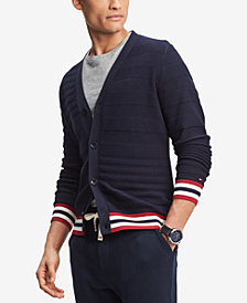 Tommy Hilfiger Men's Logo Ribbed Cardigan Sweater, Created for Macy's