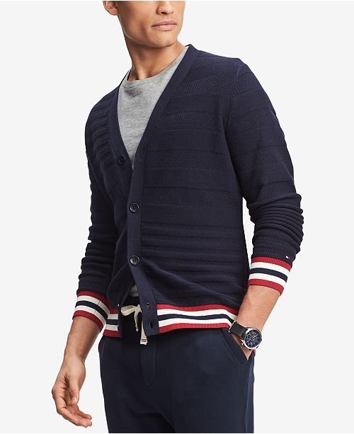 e3201b54c9 ... Tommy Hilfiger Men s Logo Ribbed Cardigan Sweater