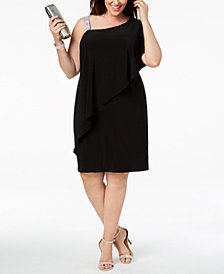 MSK Plus Size Draped One-Shoulder Dress