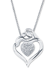 "Diamond Mother & Child Heart 18"" Pendant Necklace (1/8 ct. t.w.) in Sterling Silver"