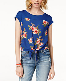 Hippie Rose Juniors' Tie-Front Top