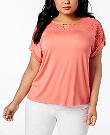Calvin Klein Plus Size Lace-Yoke Keyhole Blouse