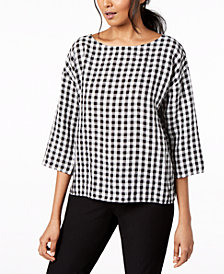 Eileen Fisher Organic Cotton Printed Boat-Neck Top