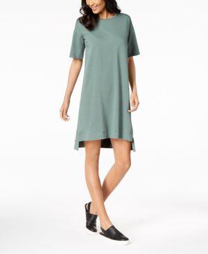 Eileen Fisher Organic Cotton Step-Hem Shift Dress, Regular & Petite 5712566