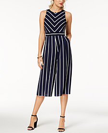 Jessica Howard Striped Cropped Jumpsuit