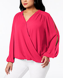 I.N.C. Plus Size Surplice-Neck Split-Sleeve Blouse, Created for Macy's