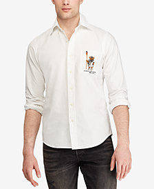 Polo Ralph Lauren Men's Embroidered Crew Bear Classic Fit Pocket Shirt