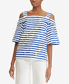 Lauren Ralph Lauren Petite Striped Cold-Shoulder Cotton Top