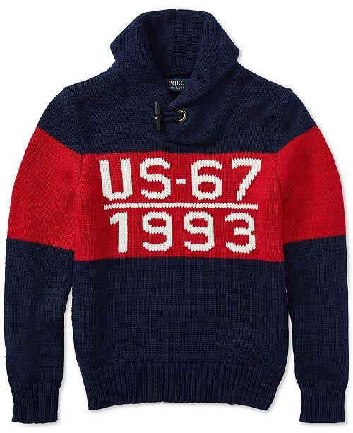 00841dd3b2ab ... Polo Ralph Lauren Big Boys CP-93 Shawl-Collar Cotton Sweater ...