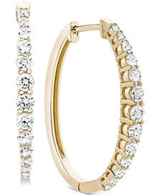 Diamond Hoop Earrings (1 ct. t.w.) in 14k Gold, Rose Gold, or White Gold