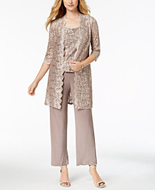 R & M Richards Petite 3-Pc. Sequined Lace Pantsuit
