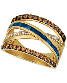 Le Vian® Chocolate & Nude™ Blueberry Sapphire™ (3/4 ct. t.w.) & Diamond (7/8 ct. t.w.) Crisscross Ring in 14k Gold