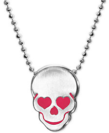 """Alex Woo Enamel Heart Skull 16"""" Pendant Necklace in Sterling Silver"""