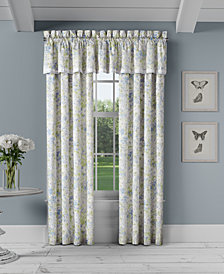"Piper & Wright Flower Bed Blue Straight 88"" x 15"" Window Valance"