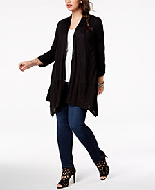 BCX Trendy Plus Size Mesh-Back Cardigan