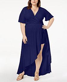 Soprano Trendy Plus Size High-Low Maxi Dress