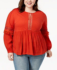 Lucky Brand Trendy Plus Size Cutout Peasant Top