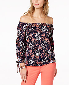 MICHAEL Michael Kors Floral-Print Off-The-Shoulder Top