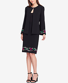 Tahari ASL Embroidered Open-Jacket Skirt Suit, Regular & Petite