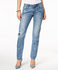 MICHAEL Michael Kors Embroidered Straight-Leg Jeans in Regular & Petite Sizes