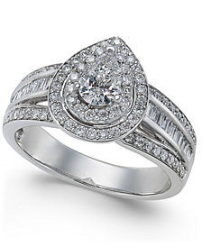Diamond Pear Halo Engagement Ring (1 ct. t.w.) in 14k White Gold