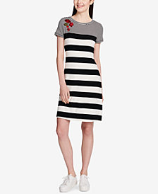 Calvin Klein Striped Embroidered Dress