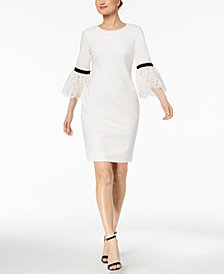 Calvin Klein Lace-Trim Bell-Sleeve Dress