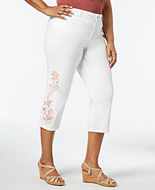 Charter Club Plus Size Embroidered Denim Capri Pants, Created for Macy's