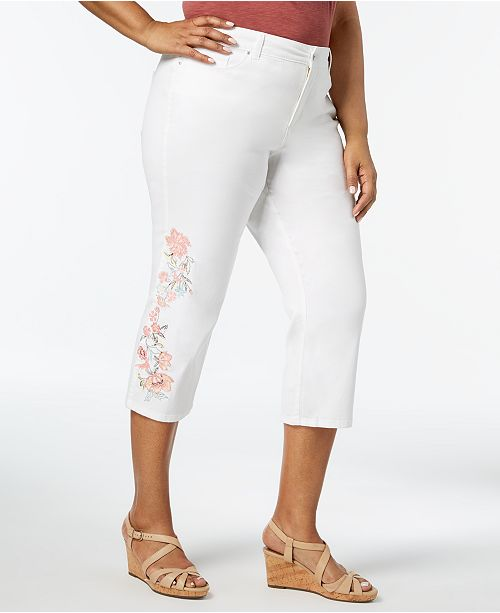 Charter Club Plus Size Embroidered Denim Capri Pants, Created for ...