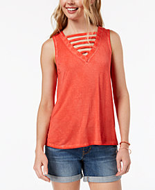 Hippie Rose Juniors' Lattice-Front Tank Top