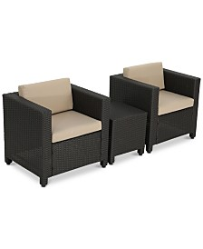 Lauren 3-Pc. Outdoor Club Chair & Side Table Set, Quick Ship