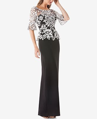 Js Collections Embroidered Lace Peplum Gown Dresses Women Macy S