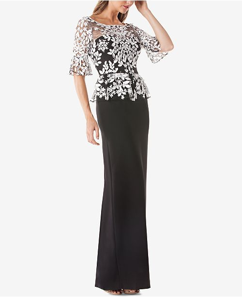 JS Collections Embroidered Lace Peplum Gown - Dresses - Macy\'s