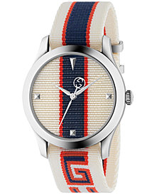 Gucci Men's Swiss G-Timeless White, Red & Blue Nylon Strap Watch 38mm