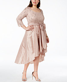 R & M Richards Plus Size Sequined Lace High-Low Gown