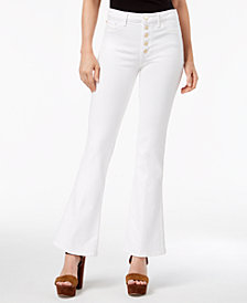 GUESS Gilded White 1981 Flared Button-Fly Jeans