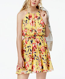 BCX Juniors' Belted Floral-Print Dress