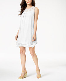 John Paul Richard Petite Lace-Yoke Shift Dress