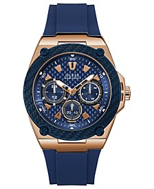 Men's Blue Silicone Strap Watch 45mm