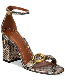 COACH Maya Signature Buckle Snake Print Sandals