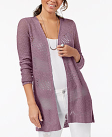 One Hart Juniors' Open-Front Crochet Cardigan, Created for Macy's