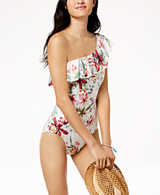 Carmen Marc Valvo Floral Printed One-Shoulder Ruffled One-Piece Swimsuit
