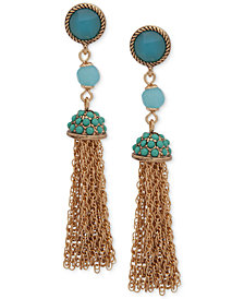 Anne Klein Gold-Tone Stone & Bead Chain Tassel Drop Earrings