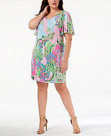 MSK Plus Size Paisley Split-Sleeve Dress